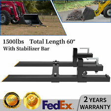 1500lbs 60 Tractor Forks Clamp For Skid Steer Loader Bucket With Stabilizer Bar