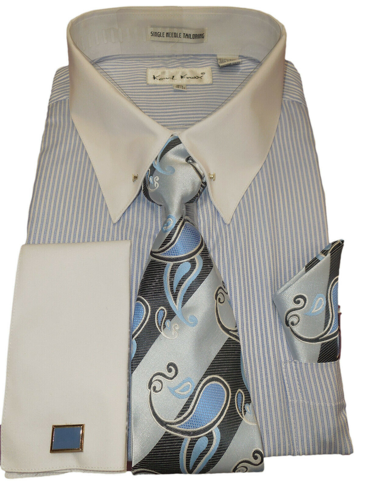 Mens Karl Knox Elegant Light Blau Stripe Pin Collar Cuffed Dress Shirt SX4415