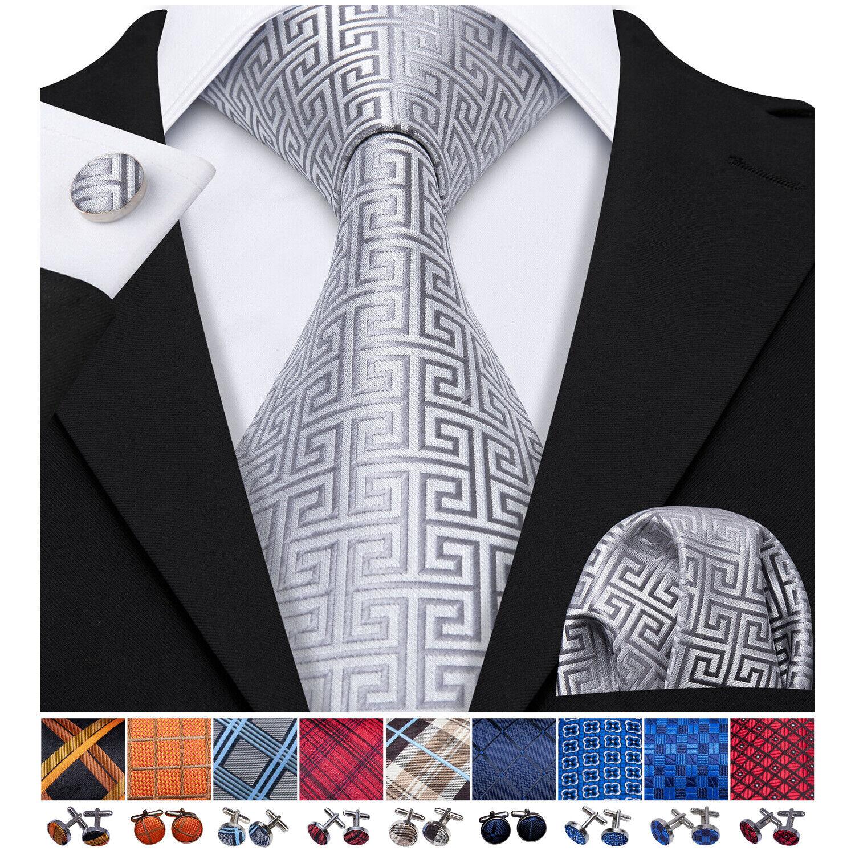 Luxury Gray Wrinkle Resistant Silk Men's Necktie Pocket Square Cufflinks Set