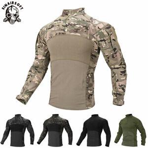 Tactical-Men-039-s-Zip-Pocket-Military-G3-Combat-Shirt-Paintball-Long-Sleeve-T-Shirt