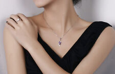 Sterling Silver Purple Amethyst Crystal Angel Wing Pendant Necklace Chain H4/10