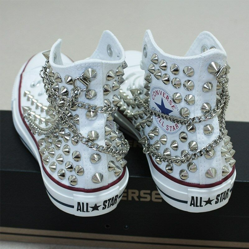 Genuine CONVERSE with with with studs & chains All-star Chuck Taylor baskets Sheos 0ac345