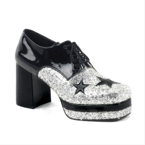 Silver Black Pimp 70s Disco 80s Rock Star KISS Tribute Band Platform Mens Shoes