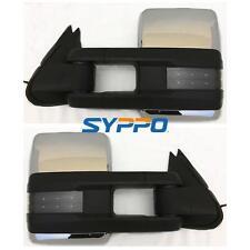 Chrome For 07-13 Silverado Towing Manual Telescoping Mirrors Signal Backup Lamps