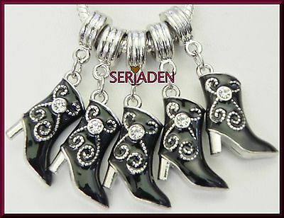 5 Black Cowgirl Boot Charms Fits European Style Jewelry 14 * 28 & 5 mm Hole R036