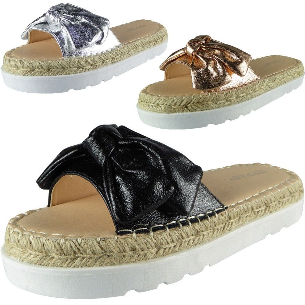 New Womens Ladies Comfy Sliders Flats Shoes Slides Espadrilles Bow Slippers Size