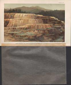 Chromo-Lithografie-1905-Sinterterasse-des-Mammutgeisers-im-Yellowstone-Park