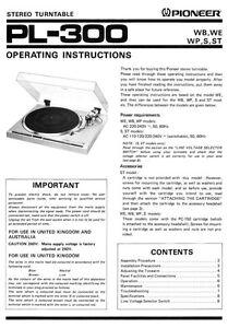 Pioneer Pl 300 Turntable Owners Manual