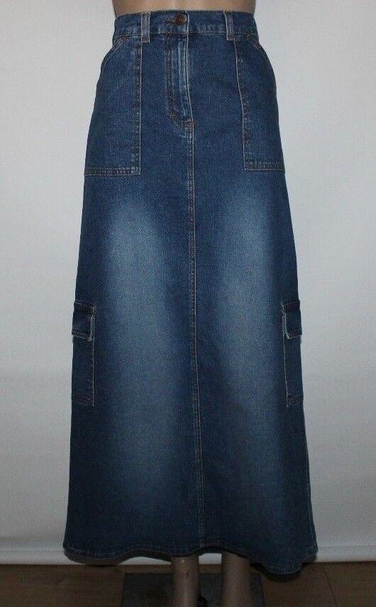 bluee Denim IDENTIC Zip Stretch Long Straight Combat Casual Skirt Size S , L 38