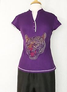 Asian-Women-T-Shirt-Top-Blouse-Cotton-in-Rhinestone-Tiger-Design