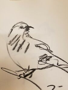 "JOSE TRUJILLO - Original Charcoal Paper Sketch Drawing 12"" Bird NEW Artwork COA"