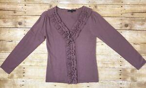 Women-Antonio-Melani-Wool-V-Neck-Ruffle-Front-Sweater-Puff-Sleeve-Purple-Small