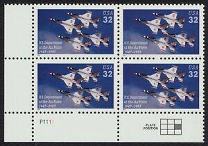 #3167 32c ESTADOS UNIDOS Air Force, Placa Bloque [P1111 Ll ] Nuevo Cualquier 4=