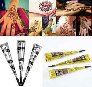 Natural Herbal Henna Cones Temporary Tattoo Kit Body Art Paint