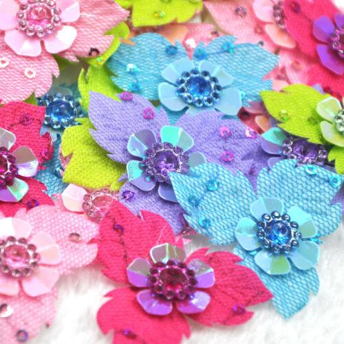 flores de fieltro acolchado Con Apliques Craft Costura A314 Rhinestone izquierda 20//60 un