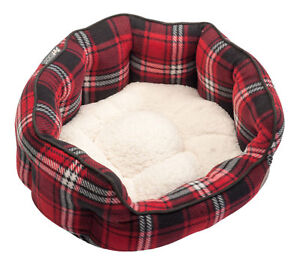 Petface Red Tartan Check Oval Pet Dog Bed Soft Faux