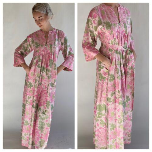 80s Jim Thompson Thai Silk Printed Caftan/ Maxi Dr