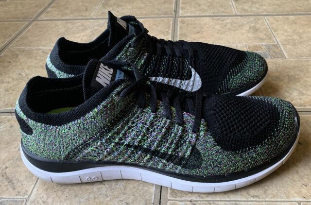 Nike Flyknit 4 0 Running Shoes Womens 10 Black Blue Green 631050 003 For Sale Online Ebay