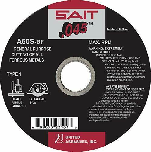 United Abrasives-SAIT 23103 Type 41//1 5-Inch x .045 Inch x 7//8-Inch Grade A60...