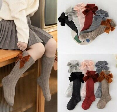 Button Tie Bowknot Baby Girls Socks Knitted Cotton Knee High Socks For Toddler