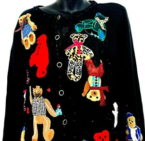 Vtg-2000-Susan-Bristol-Womens-Cardigan-Sweater-Winter-Teddy-Bears-Applique-Large