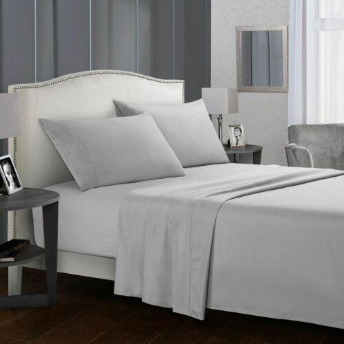 800//1000//1200 TC Egyptian Cotton Sheet//Duvet set//Flat All Sizes Silver Solid