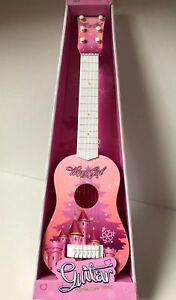 """New GUITAR PINK CASTLE 23"""" KIDS ACOUSTIC GUITAR MUSICAL INSTRUMENT CHILD TOY"""