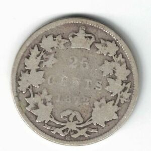 CANADA-1872H-25-CENTS-QUARTER-QUEEN-VICTORIA-CANADIAN-STERLING-SILVER-COIN