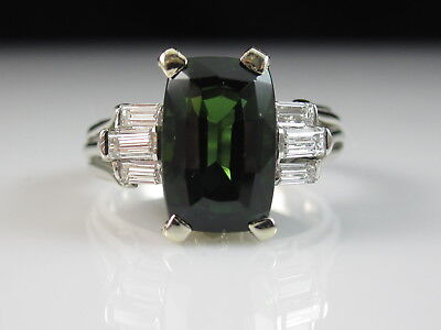 14K Green Tourmaline Diamond Ring White Gold Fine Jewelry Cushion Estate $3500