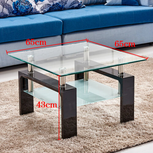 High Gloss Coffee Table Nested of 3 Tables White Side End Table Glass Top
