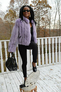 New-Elegant-Bloomingdale-039-s-lavender-fox-Fur-Coat-Bolero-jacket-Stroller-S-M-4-8