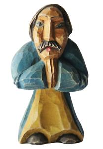 "Vintage Folk Art Carved Wood Hand-Painted Praying Man Monk Figurine Signed 4"""