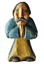 "miniature 1 - Vintage Folk Art Carved Wood Hand-Painted Praying Man Monk Figurine Signed 4"""