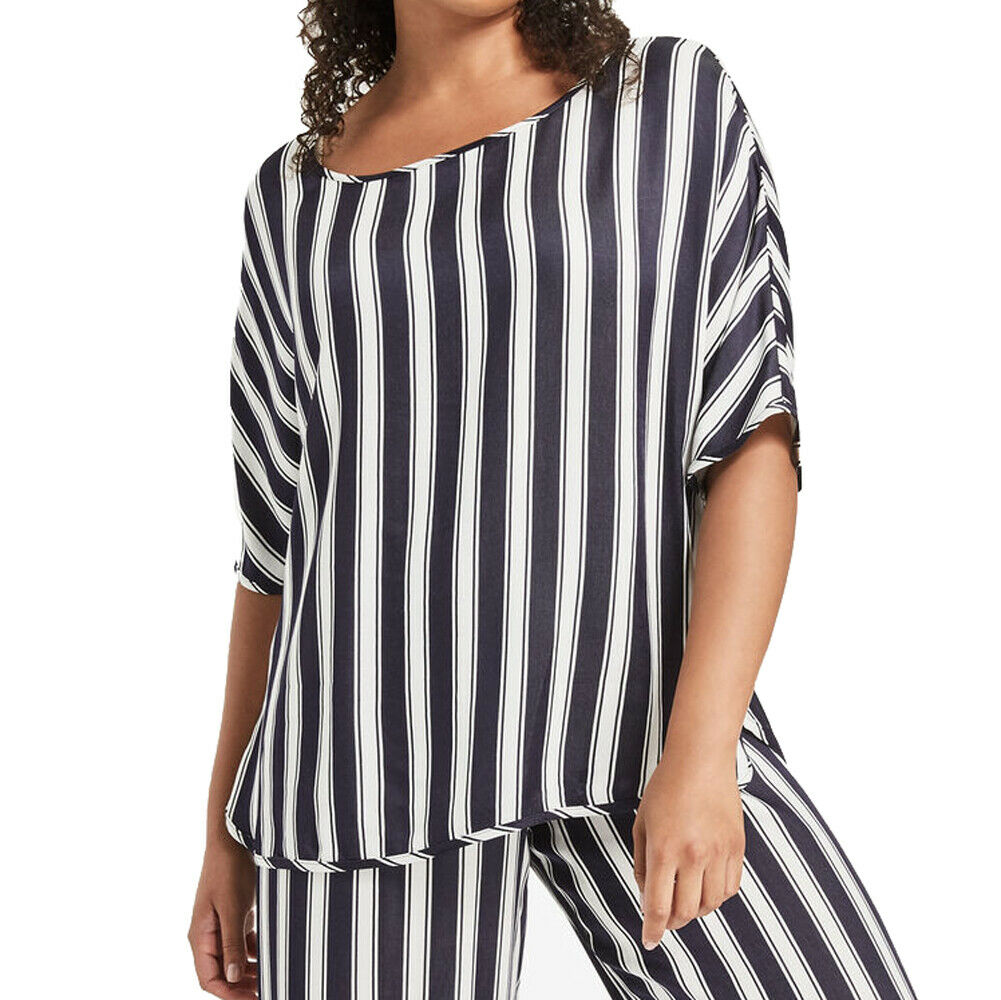 MARINA RINALDI Woherren Navy Weiß Feluca Striped Blouse  NWT