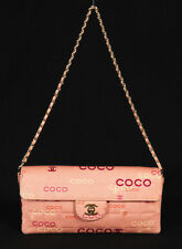 CHANEL Pink Square Quilted Coco Logo Print Fabric East/West Flap Bag