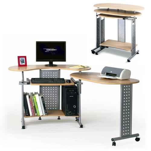Computertisch Twin Schreibtisch Tisch in Buche mit Tastaturauszug und Rollen
