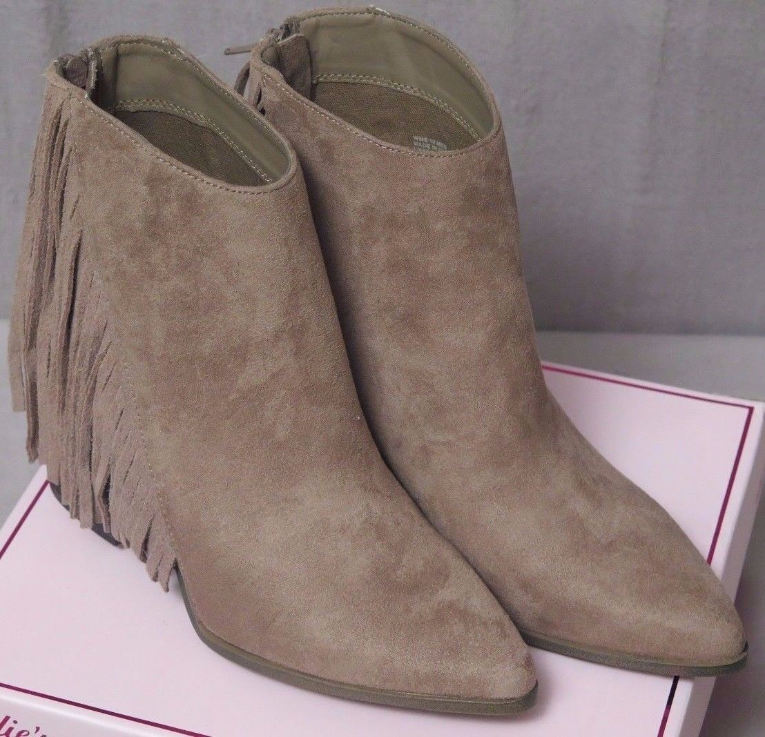 Candies Women Caroadhouse Taupe Fringe Suede Ankle Boots Sizes  8 & 10 Brand New
