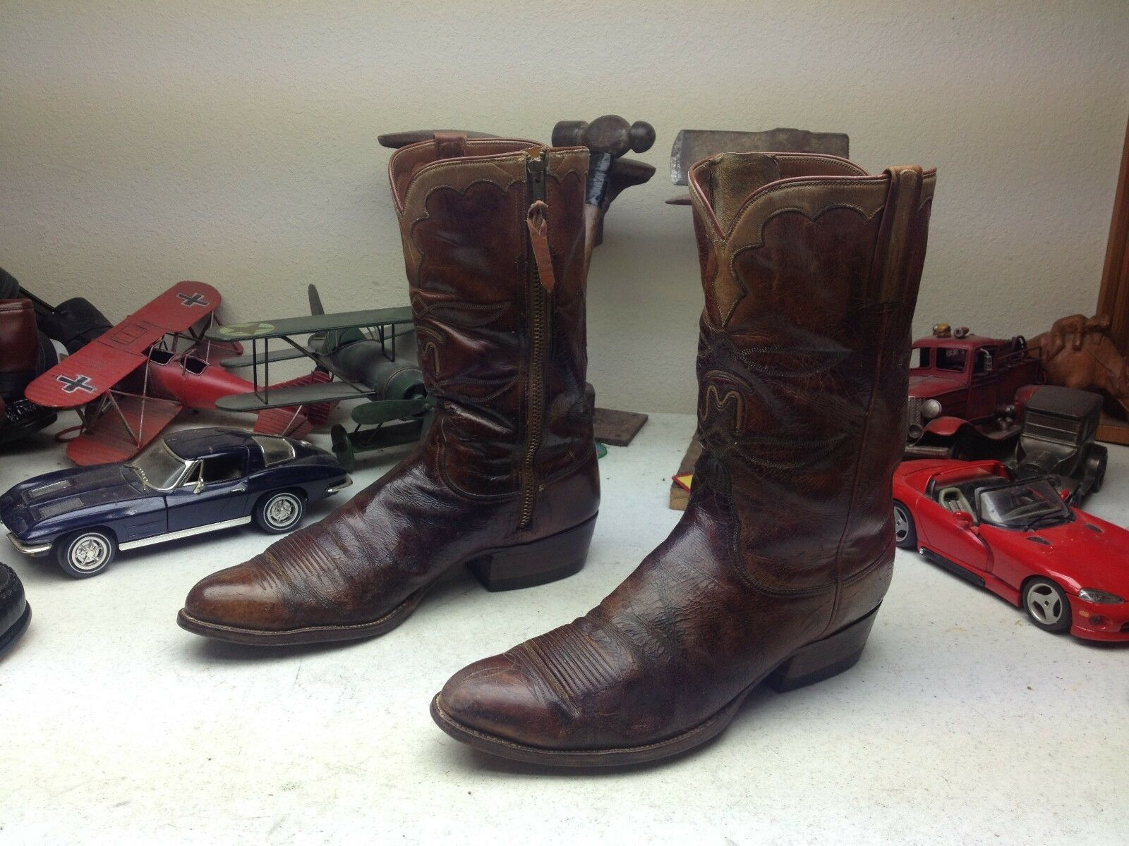 San Antonio Lucchese vieilli made in USA Vintage en Cuir Marron Bottes 10 A B