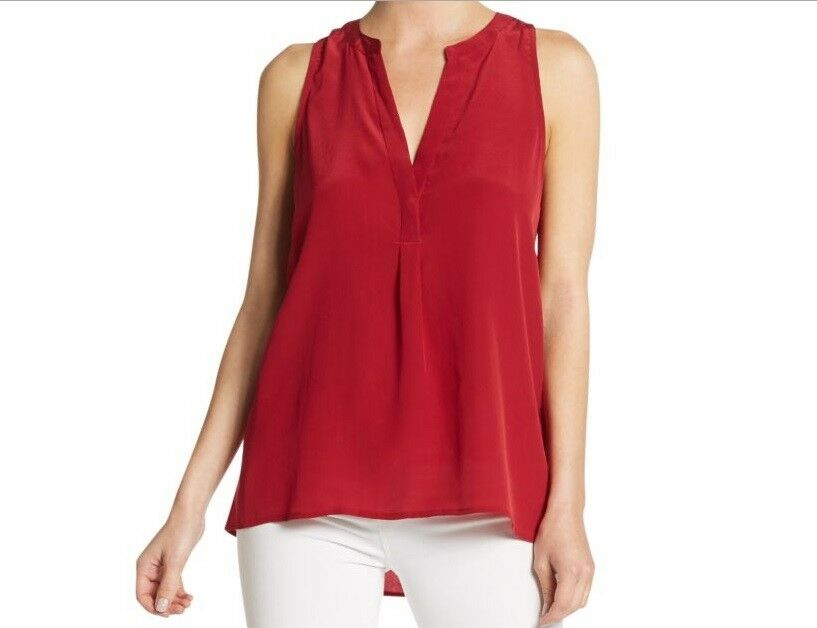 Joie solid rot silk top v-neck sleeveless high-low hem XS NWT