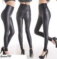Women's Ladies High Waisted PVC Leather Wet Look Leggings Pants Plus Size 8-24