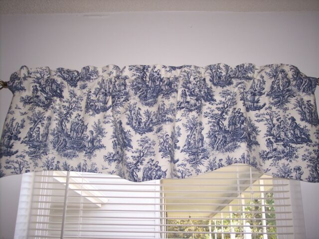 Navy Delft Blue White Waverly Rustic Toile Scalloped Lined Valance Curtains