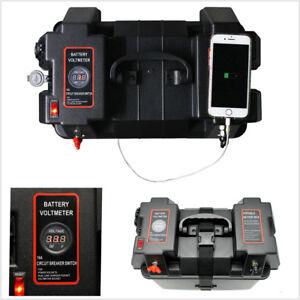 Marine-Boat-Smart-Battery-Box-with-Cigarette-Lighter-USB-Sockets-LED-Voltmeter
