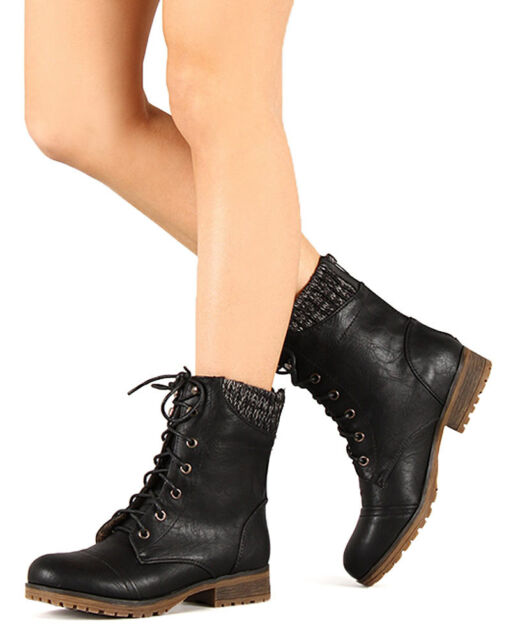 05f56ea2c8d New Women Refresh Wynne-06 Leatherette Sweater Trim Lace Up Mid Calf Combat  Boot