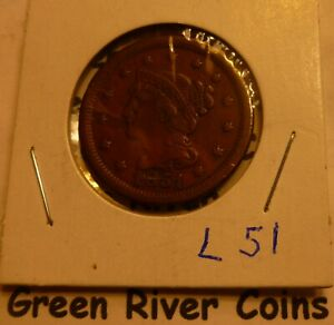 1851  Large Cent   #L51  better grade