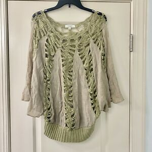 Umgee-Crochet-Green-Boho-Peasant-Top-M-L