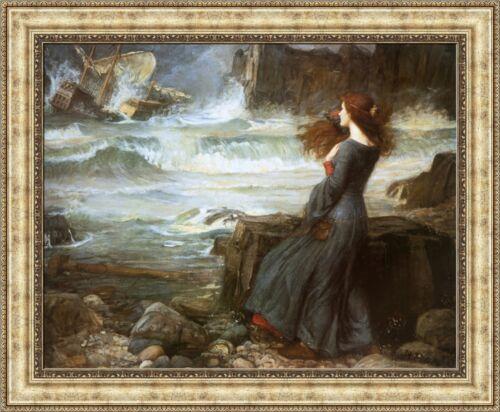 "John William Waterhouse Miranda the Tempest Framed Canvas Print 33/""x27/"" V04-15"