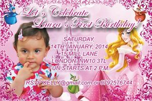 10 Personalised Photo Birthday Invitations or Thank you Cards Sleeping Beauty