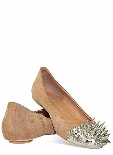 Jeffrey Campbell Spiked Ballet Flats (6, Nude Suede)