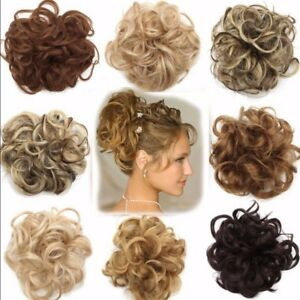 100-Real-Natural-Curly-Messy-Bun-Hair-Piece-Scrunchie-Hair-Extensions-Brown-kcn