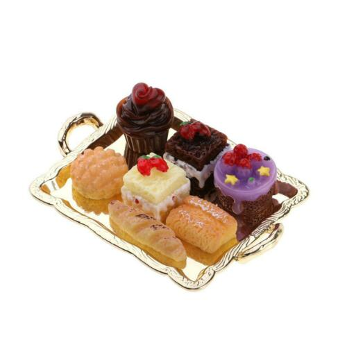 1//12 Dollhouse Miniature Cake Set in Cake Pan for Kitchen Food Golden Tray